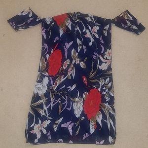 Fashion Nova floral dress with sheer arm cuffs